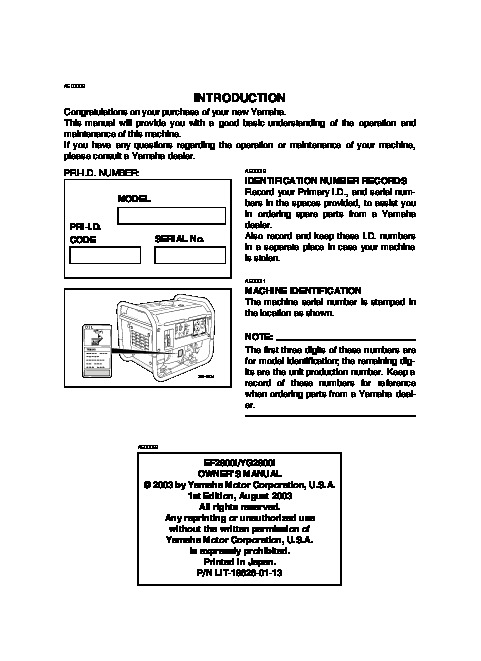 yamaha ef2800i yg2800i generator owners manual rh home appliance filemanual com Yamaha EF2000iS Yamaha Generators