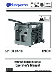 2007-2012 Husqvarna 420GN Generator Owners Manual, 2007,2008,2009,2010,2011,2012 page 1