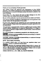 Honda Generator EX350 Owners Manual page 3