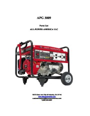 All Power America 6000 APG3009 Generator Shop Part List page 1