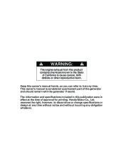 Honda Generator EM5000is EM7000is Owners Manual page 2