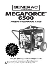 Generac Megeforce 6500 Generator Owners Manual page 1