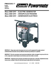 Coleman Powermate Maxa 3000 PM0523202 Generator Parts List page 1