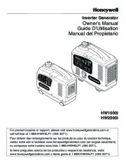 Honeywell HW1000i HW2000i Generator Owners Manual page 1