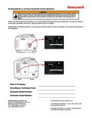 Honeywell HW1000i HW2000i Generator Owners Manual page 2