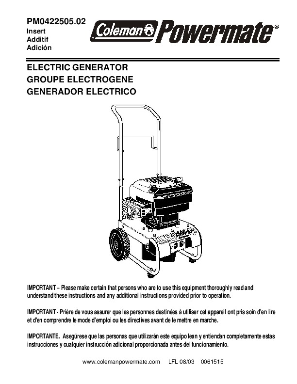 coleman powermate pm0422505 generator owners manual - 1 of 8