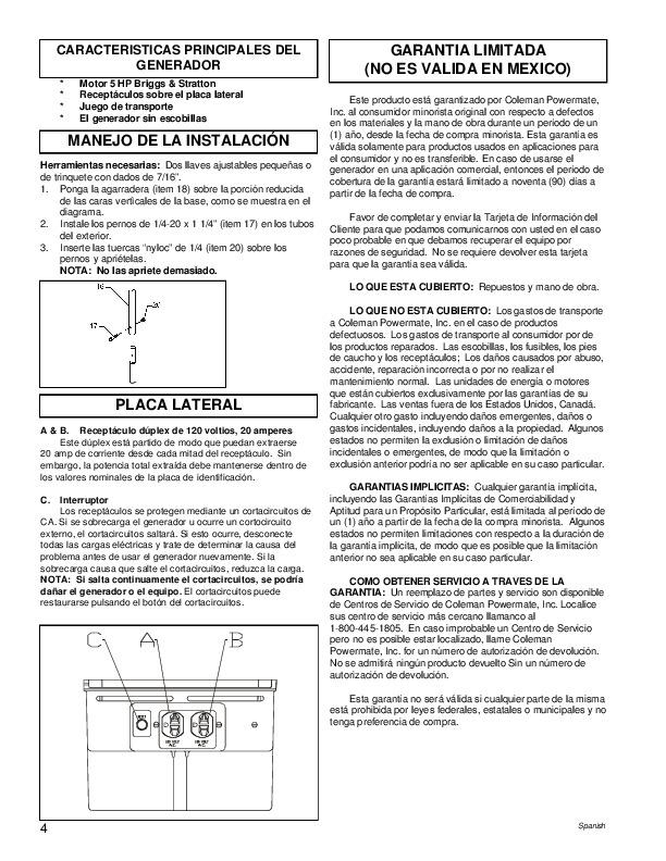 Coleman Powermate PM0422505 Generator Owners Manual