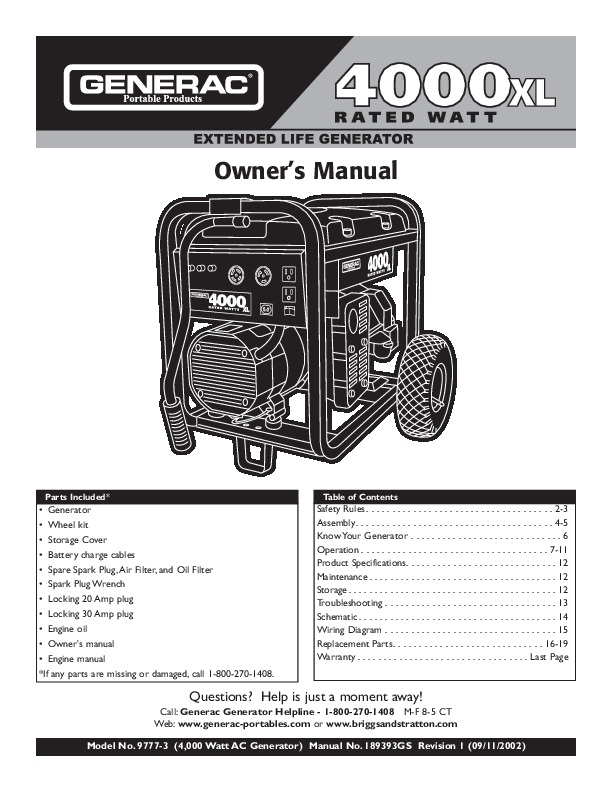 1658-0 generac 5000 watt portable generator manual.