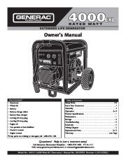 Generac 4000EXL Generator Owners Manual page 1