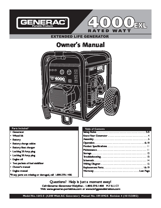 Generac 4000 Generator Wiring Diagram - Block And Schematic Diagrams •