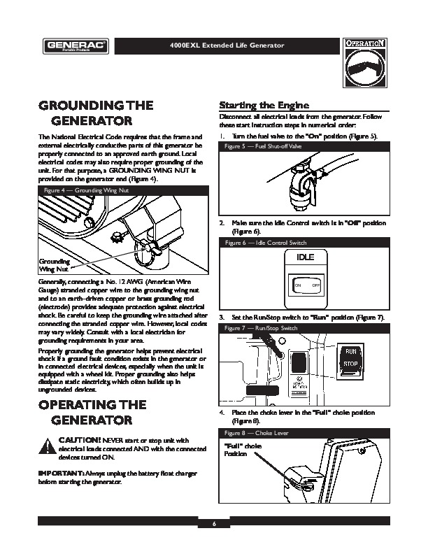 generac 4000exl generator owners manual rh filemanual com generac 6500 watt generator owner's manual generac generators owners manual 0059402