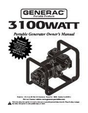 Generac 3100 Generator Owners Manual page 1