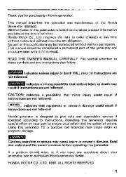 Honda Generator EM3800SX EM5000SX EM6500SX Owners Manual page 3