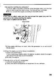 Honda Generator EM3800SX EM5000SX EM6500SX Owners Manual page 41