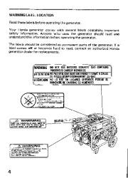 Honda Generator EM3800SX EM5000SX EM6500SX Owners Manual page 6