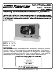 Coleman Powermate PM402511 Generator Owners Manual page 1