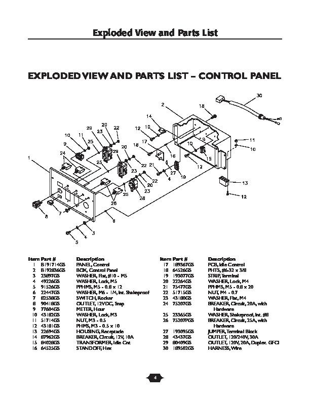 Generator Parts List