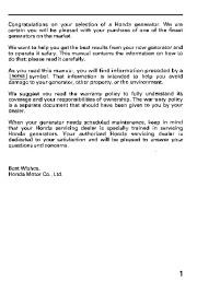 Honda Generator EB11000 Owners Manual page 3