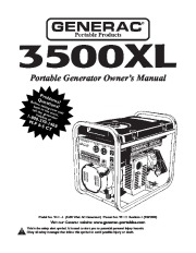 Generac 3500XL Generator Owners Manual page 1