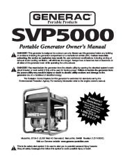 Generac SVP5000 Generator Owners Manual page 1
