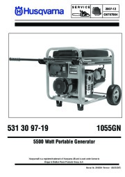 Husqvarna 1055GN Generator Owners Manual page 1