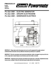 Coleman Powermate Pro Gen 5000 PM0535202 Generator Owners Manual page 1
