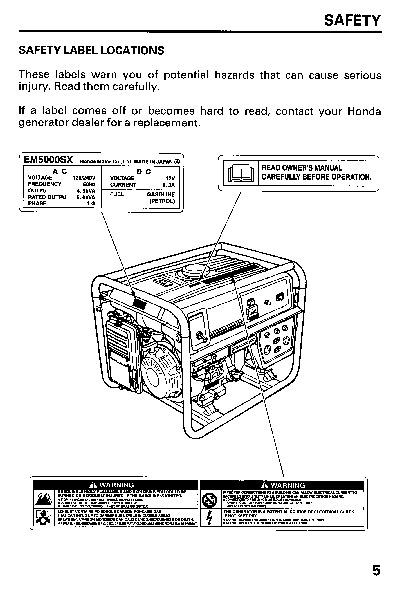 Marvelous Honda Generator Em5000Sx Owners Manual Wiring Digital Resources Funapmognl