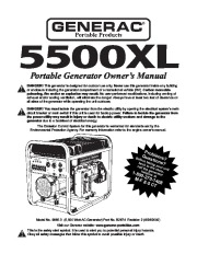 Generac 5500XL Generator Owners Manual page 1