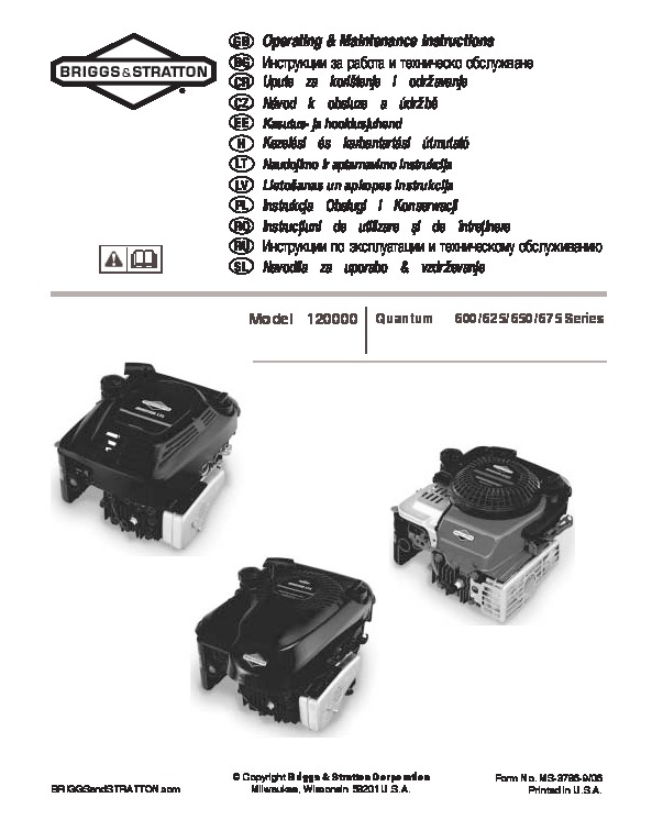 briggs and stratton 120000 600 625 650 675 series generator owners rh home appliance filemanual com briggs and stratton 625 series 190cc service manual