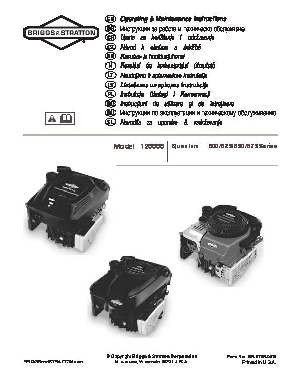 Briggs & stratton 100000 650 series manuals.