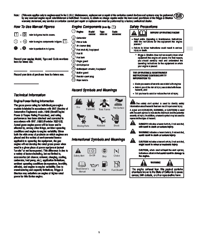 Briggs and stratton 120000 600 625 650 675 series generator owners.