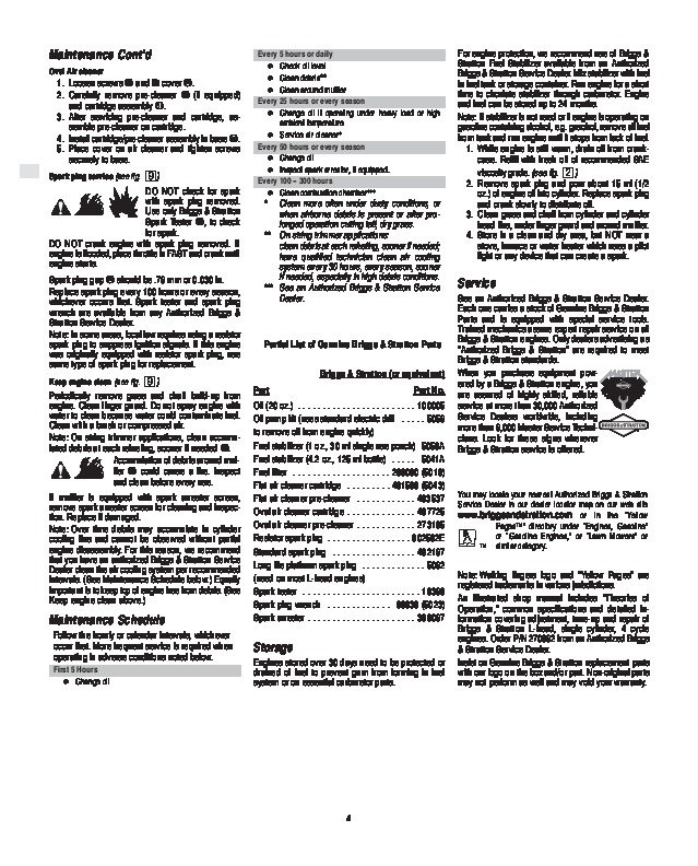 briggs and stratton 120000 600 625 650 675 series generator owners rh home appliance filemanual com briggs and stratton 675 series 190cc owners manual briggs stratton 675 service manual
