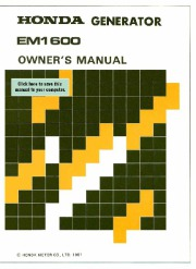 Honda Generator EM1600 Owners Manual page 1
