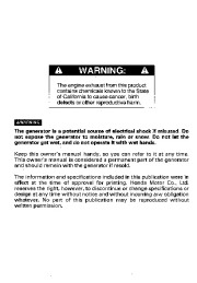 Honda Generator EX3300S EX4500S Owners Manual page 2