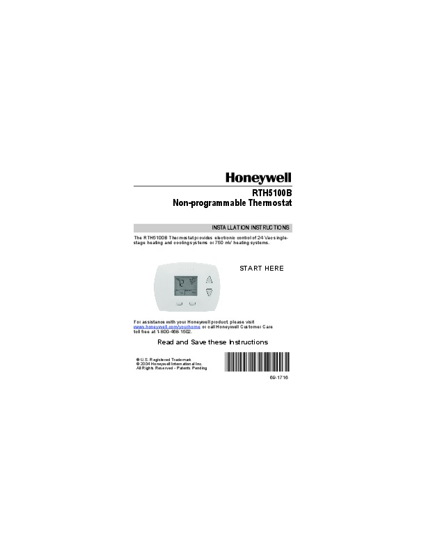 Honeywell Rth5100b Non
