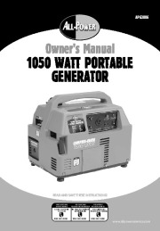 All Power America 1500 APG3006 Generator Owners Manual page 1