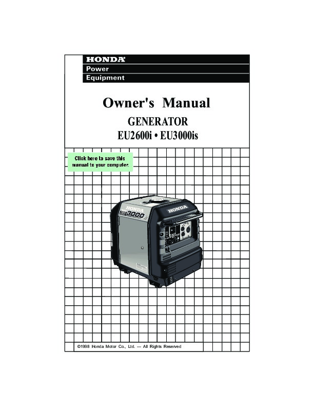 honda generator eu2600i eu3000is owners manual rh home appliance filemanual com honda 3000 generator repair manual honda 3000 generator owner's manual