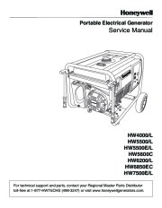 Honeywell HW4000L HW5500L HW 5600C HW6200 HW6850 HW7500EL Generator Service Manual page 1