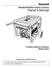 Honeywell HW5500 HW5500E Generator Owners Manual page 1