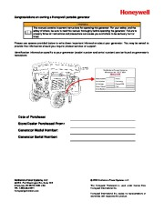 Honeywell HW5500 HW5500E Generator Owners Manual page 2