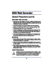 All Power America 8000 APG3005 Generator Owners Manual page 8