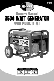 All Power America 3500 APG3002 Generator With Mobility Kit Owners Manual page 1