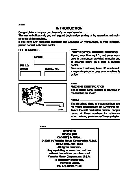 yamaha ef3000ise ef3000iseb generator owners manual rh home appliance filemanual com