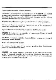 Honda Generator ES6500 EL5000 Owners Manual page 2
