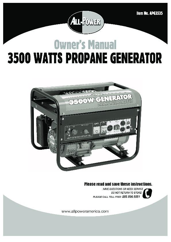 Izuzu power Generator Manual on